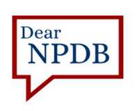 Image of a conversation balloon with text Dear NPDB