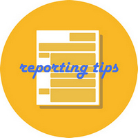 Report Graphic which includes a piece of papaer and text stating Reporting Tips.