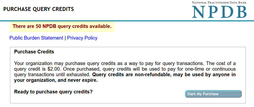 Screenshot displaying the Purchase Query Credit page which shows the total query credits