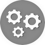 Icon of mechanical wheels to symbolize a process