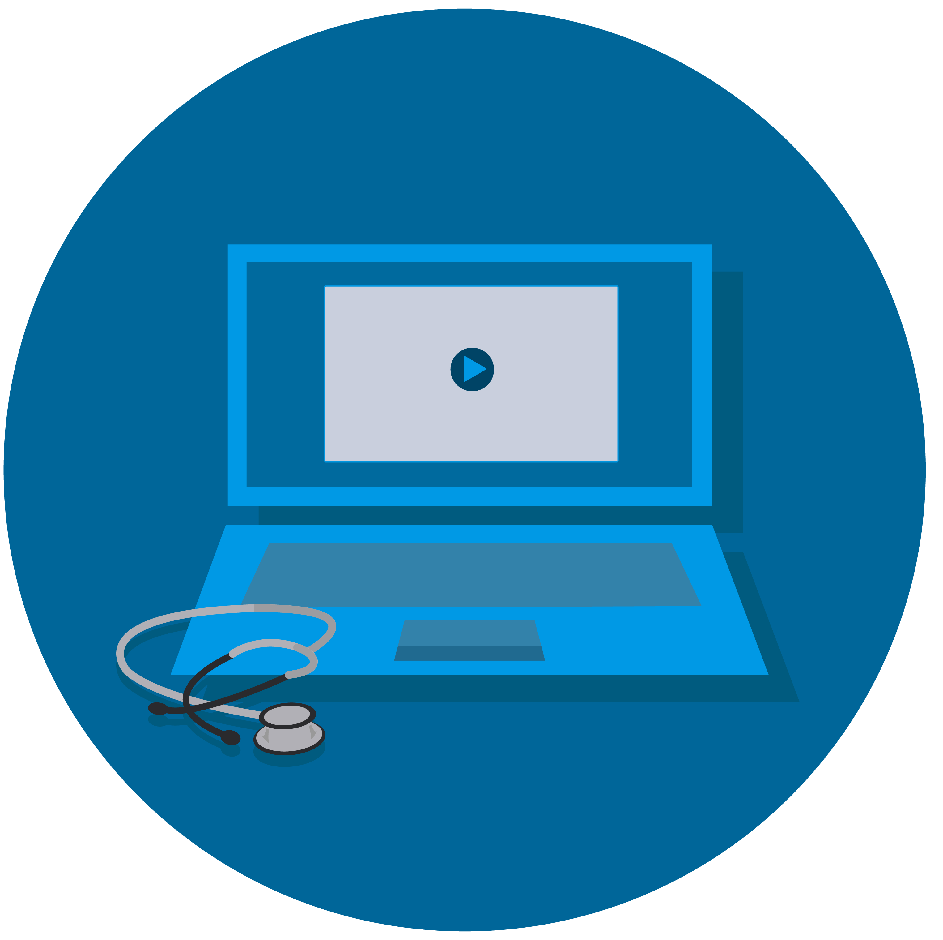 Image of a computer and stethoscope