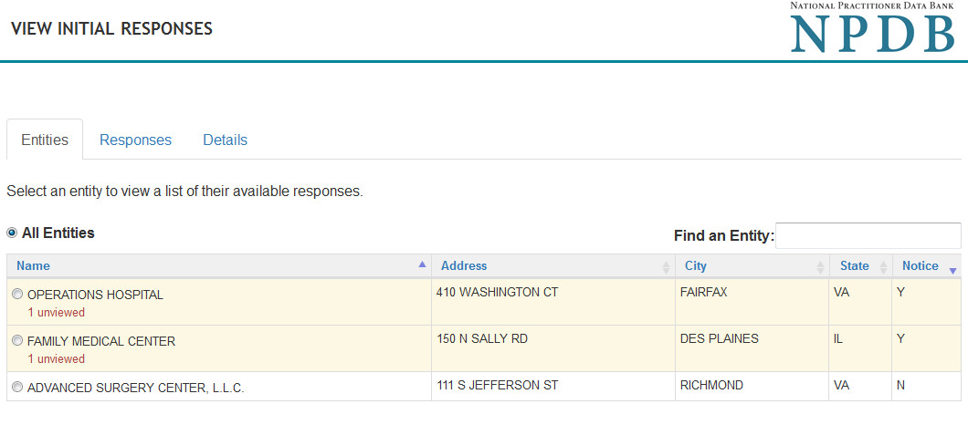 Screenshot of the initial responses page view across entities