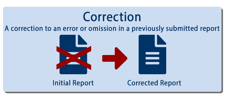 Image of a report replacing a report as a correction report example.