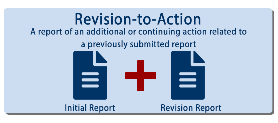 An image of report and a revision report, a subsequent action related to the inital. Revision to Action Report