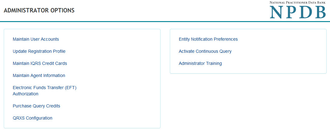 Screenshot of the Administrator Options page