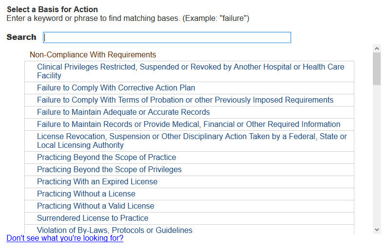 Screenshot of the Basis for action selection page. A list of actions is displayed.