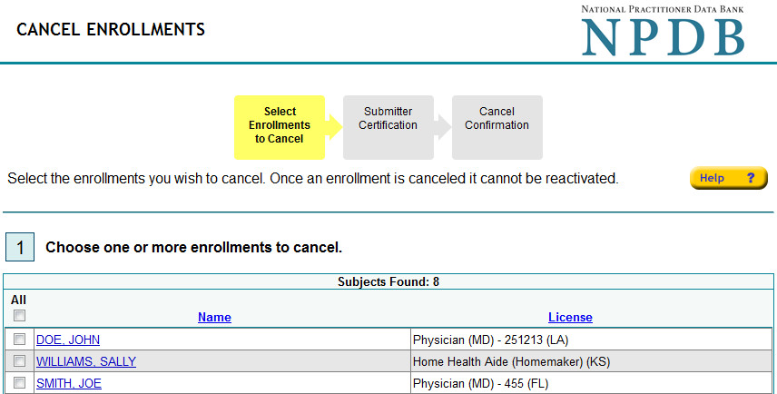 Screenshot of the Cancel Enrollments Page