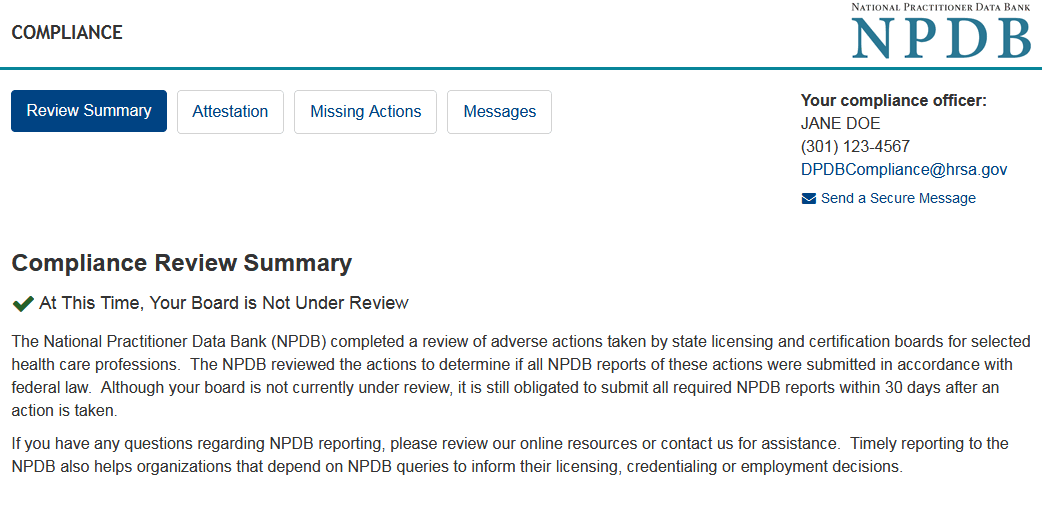 Screenshot of the Compliance Summary