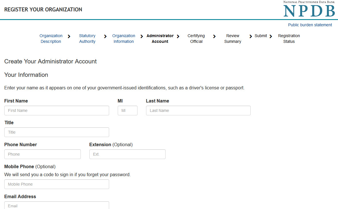 Screenshot of Administrator Account Information page