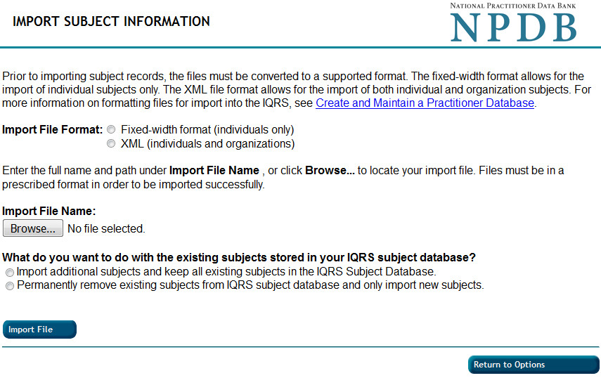 Screenshot of the Import Subject Information page
