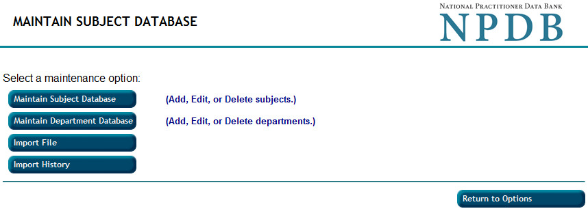 Screenshot of the Maintain Subject Database page