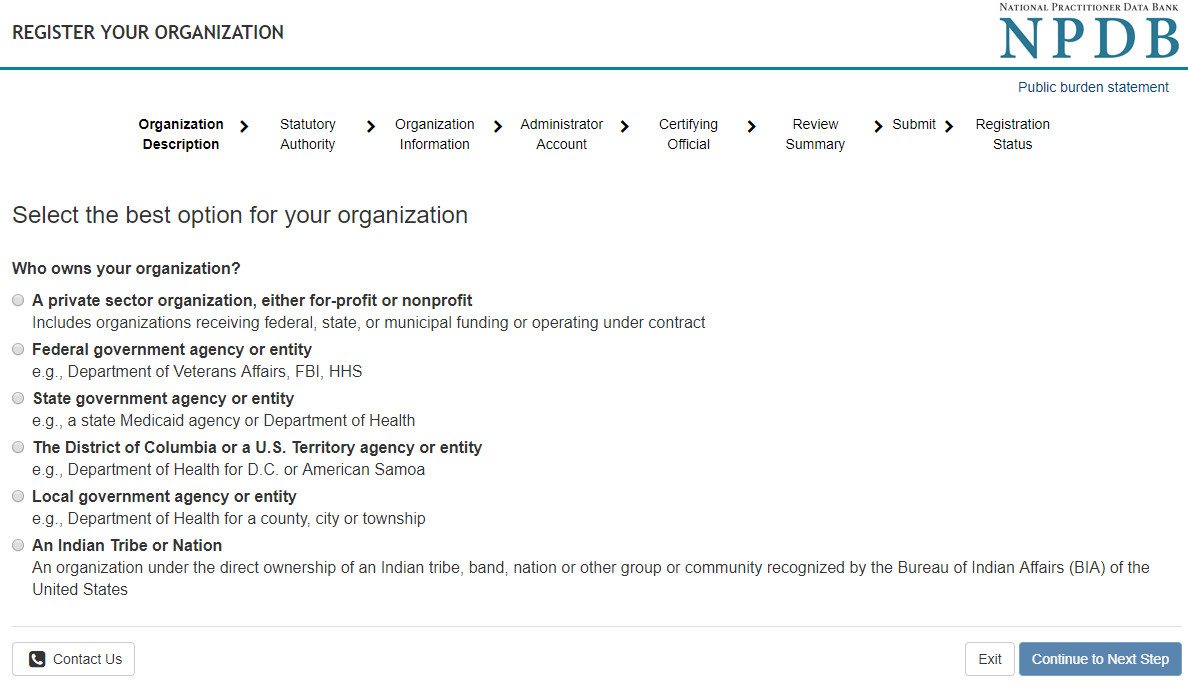 Screenshot of options for organization ownership selection.