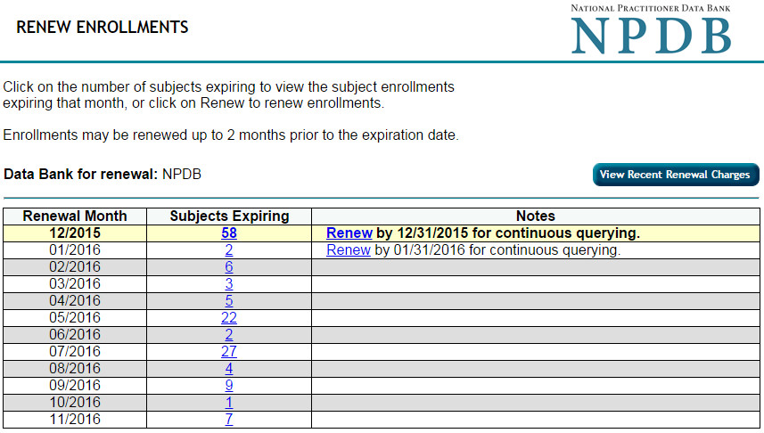 Renew Enrollments Screen
