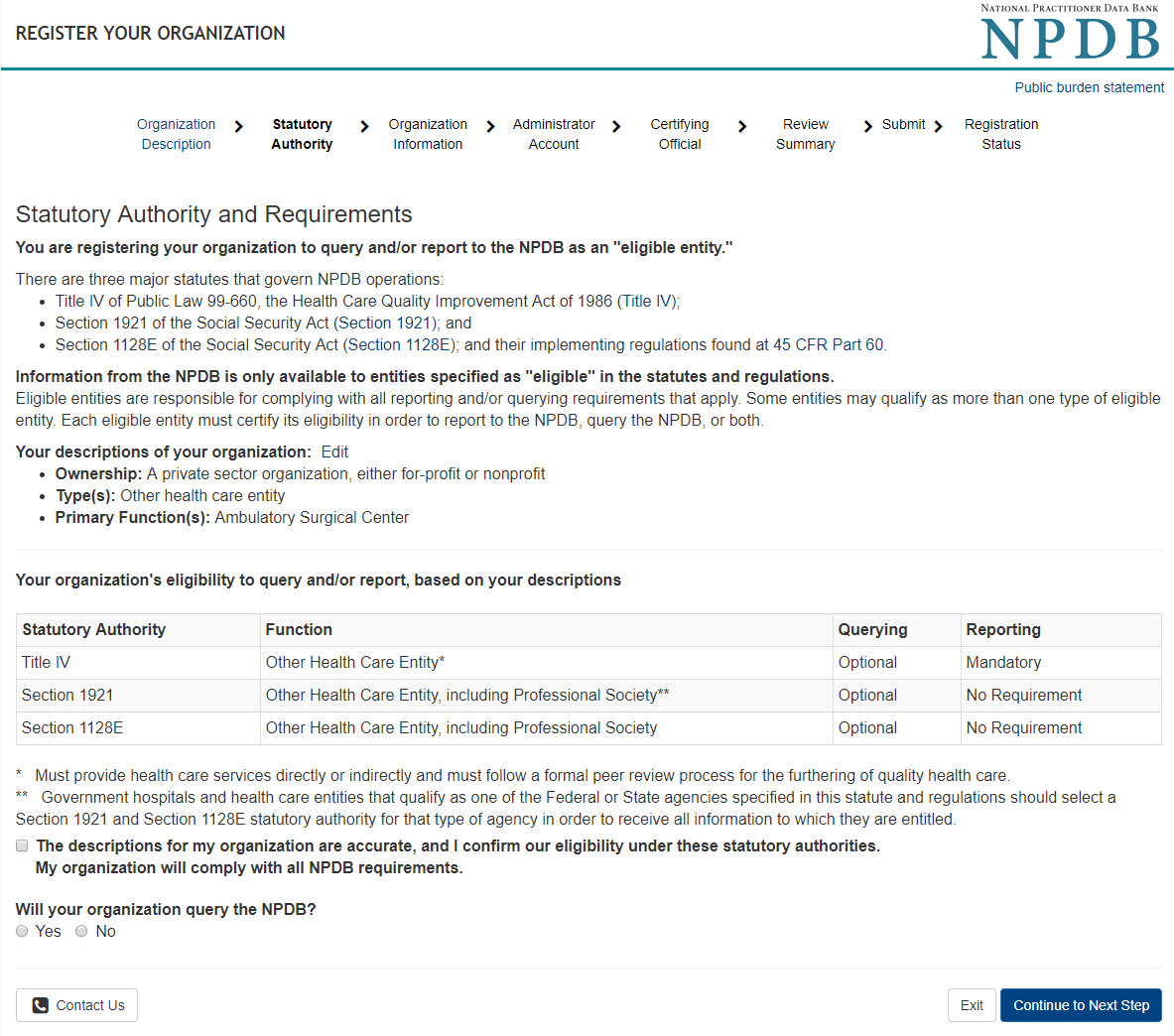 Screenshot of statutory authorities for your organization
