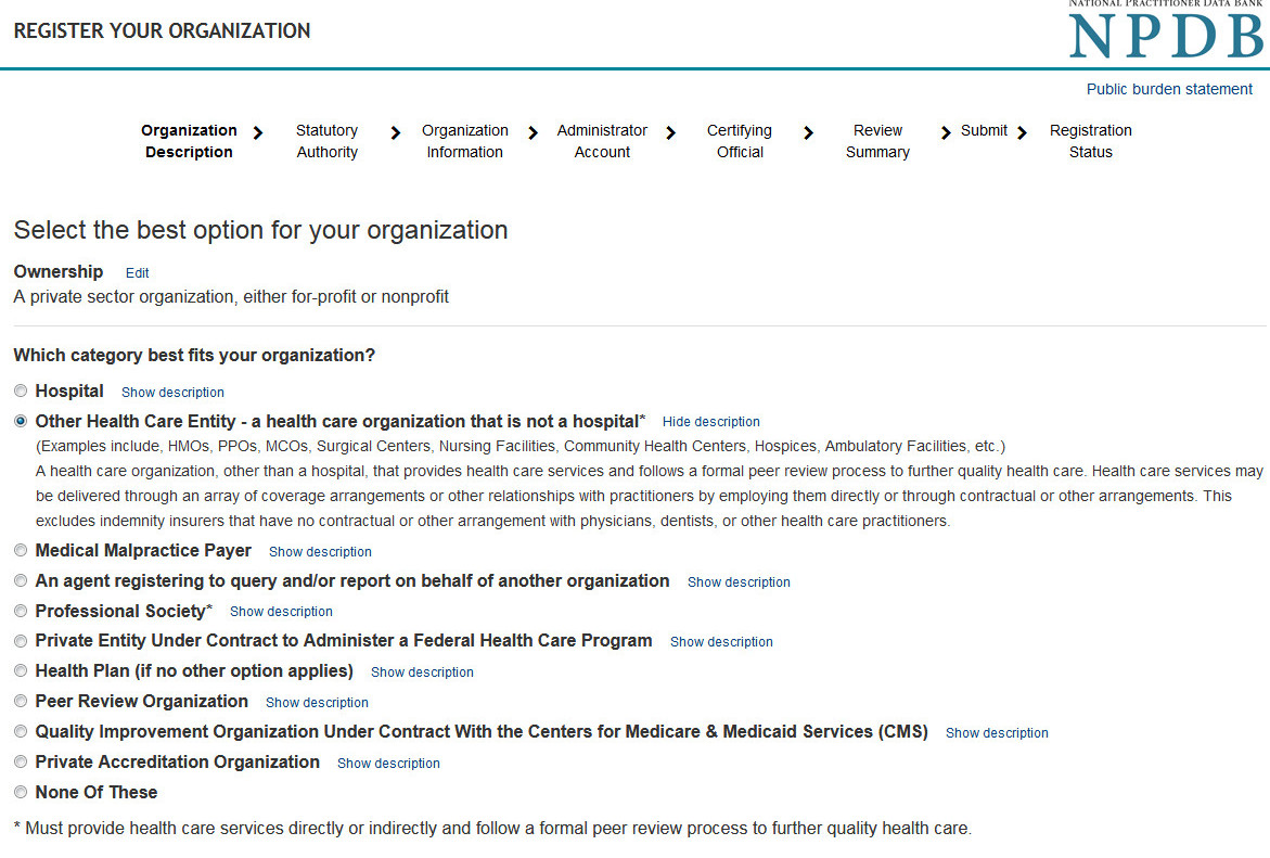 Screenshot of options that describe organizations that register with the NPDB