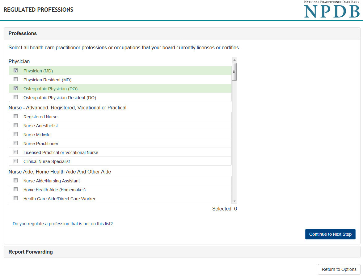 Screenshot of the Regulation Proffesions page