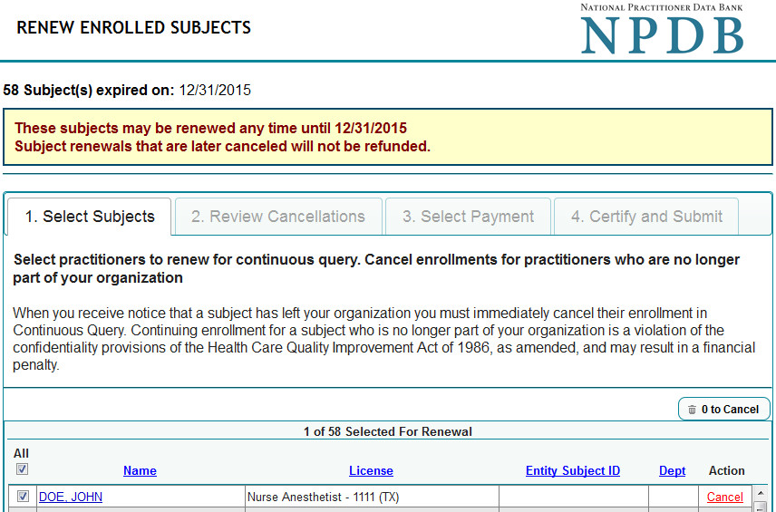 Renew Enrolled Subjects Screen