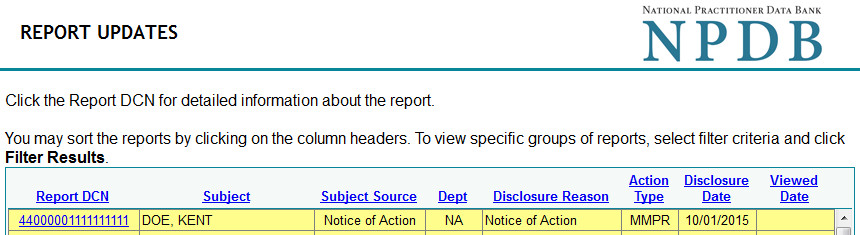 Screenshot of the Report Updates page
