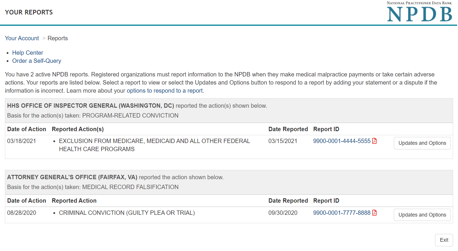 Screenshot of the Report Response Options Page