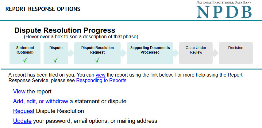 Screenshot of the Report Response Options Page with Dispute Resolution Option availible