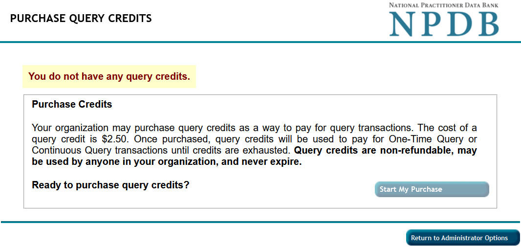 Purchase Query Credits Screenshot